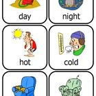 24 pair of colorful, fun cards that are just right for little hands!  What is the opposite of... -- day? -- hot? -- new? -- hungry? -- slow?  How a...