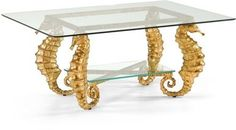 Cocktail Table CHELSEA HOUSE Beveled Gold Leaf Cast Aluminum New CH-2219