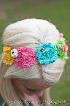 Flower Crown Headband Yellow Pink Aqua Lime Green Toddlers and Baby Girls Birthday Girl Summery Whimsical Girly Shabby Chic Flowers Cottage. $18.00, via Etsy.