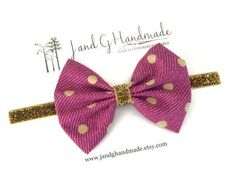 Baby/Girl/Childs Fuchsia Chambray Fabric Hair Bow by JandGhandmade