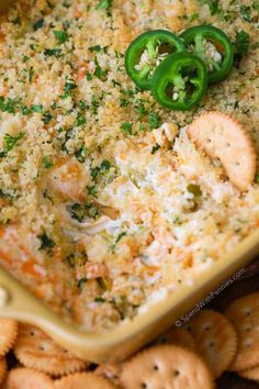 Jalapeño Popper Dip Jalapeno Popper Dip is my go to party appetizer. Rich cream cheese, spicy diced jalapenos and sharp cheddar are topped with crispy Panko bread crumbs and baked until warm and gooey. The result is the Appetizer Dips, Yummy Appetizers, Appetizers For Party, Appetizer Recipes, Snack Recipes, Cooking Recipes, Party Dips, Keto Recipes, Crowd Recipes