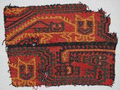 Paracas textile fragment with feline motifs, Peru, 1-500 AD.