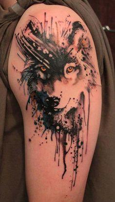 watercolor wolf tattoo tumblr