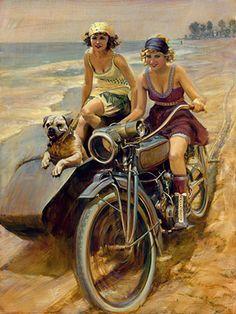 """""""LUCKY HOUND"""", Uhl faz grande obra de arte, especialmente aqueles com motos Harley. Ele faz um pedaço para cada semana da bicicleta de Daytona desde 2005. (2014) Daytona Bike Week pintura comemorativa ... ♥"""