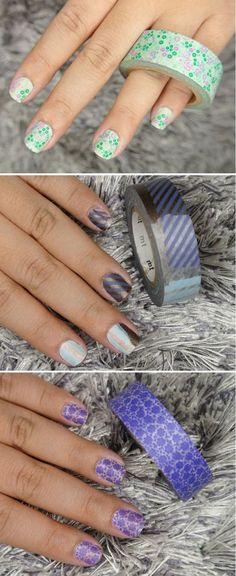 DIY Washi Tape Mani Ideas   Washi Tape Mani by DIY Ready at http://diyready.com/100-creative-ways-to-use-washi-tape/:
