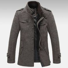 Men Knitted Stand Collar Wool Blend Tweed Coats Long Jackets. In stock