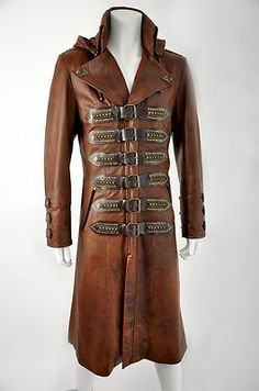 IMPERO LONDON LEATHER NEW STEAMPUNK ANTIQUE TAN MENS HOODED COAT COSTUME on eBay!