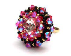 Ring Beaded Emerald Swarovski Crystals by vantageJewellery on Etsy