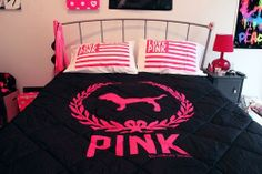 pink victoria secret comforter | xbrit biohazardx, I just love my bedroom!
