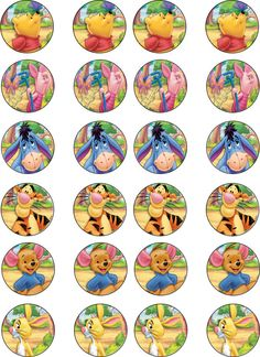 """Winnie The Pooh Rice Paper 1.5"""" Fairy Cup Cake Toppers x24 
