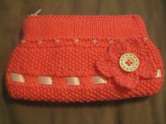 Hand Knitted Coral Clutch Bag £5.00