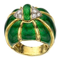 DAVID WEBB Green Enamel Diamond Yellow Gold Dome Ring.Estate