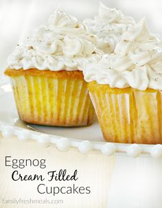 Here's another way to have your eggnog and eat it too. These Eggnog Cream Filled Cupcakes turn an adult beverage into a treat the whole family can enjoy.