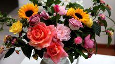 Preview wallpaper roses, sunflowers, jasmine, flowers, bouquets, composition, vase 1920x1080