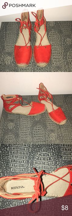 Merona red lace up sandals Never worn red lace up sandals with zipper in the back of heel Merona Shoes Sandals