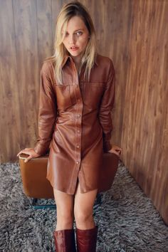 Leather Shirt Dress, Leather Dresses, Long Leather Coat, Leather Jacket, Leather High Heel Boots, Zara Dresses, Autumn Winter Fashion, Fall Winter, Fall Outfits