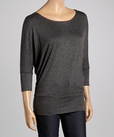 Look what I found on #zulily! Charcoal Boatneck Dolman Top #zulilyfinds