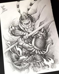 Chinese Picture, Chinese Art, Japanese Drawings, Japanese Art, Tattoo On, Tattoo Drawings, Gorilla Tattoo, Dragon Tattoos For Men, Monkey Tattoos