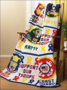 Military Afghan - Designed to support our men and women in all branches of the military, without whose loyalty we wouldn't be the America we know and love. Designed by Dawn Bishop  free pdf from freepatterns.com