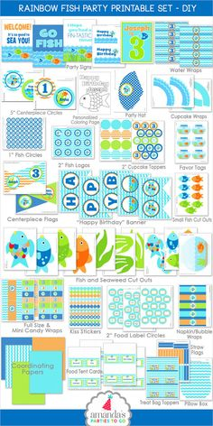 957f5936291 Pool Party -- Rainbow Fish Birthday Party Decorations (Printable files) ON SALE  NOW