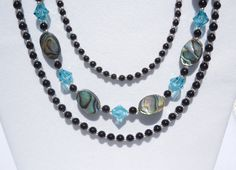 Abalone, black jasper and Swarovski light turquoise crystal 3-strand necklace by ParkhillDesigns on Etsy