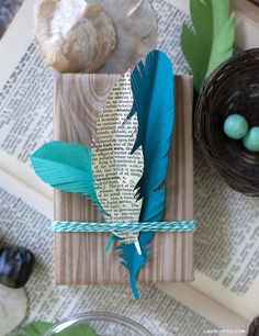 Paper Feather Gift Topper