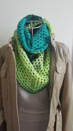 Lemon Lime Shawl crocheted by mrsterez2013 using the free crochet pattern - Augusta Shawl by Andrea Mules using 1 skein of Caron Cakes Lemon Lime Yarn.