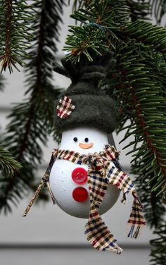 *SNOWMAN ~ Christmas Tree Ornament - made from a recycled lightbulb (SA).