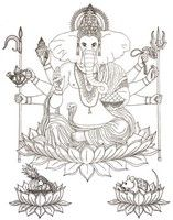 Adult coloring page Hindu God Ganesha
