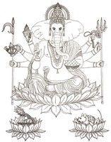 Adult coloring page Hindu God Ganesha