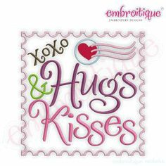 Embroidery Designs (All) - Hugs and Kisses xoxo stamp - Valentine's Day Design on sale now at Embroitique!