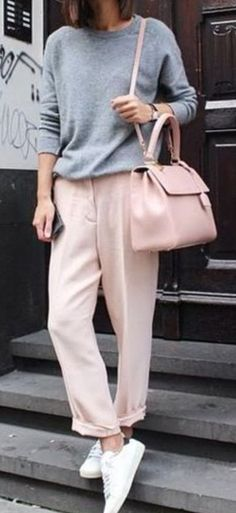 pink + grey. knit. tailored trousers. fall street style.