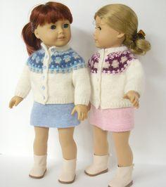 Knitting Patterns Girl Ravelry: Bohus cardigan for American Girl doll pattern by Irene Aksilenko Knitting Dolls Clothes, Knitted Dolls, Doll Clothes Patterns, Doll Patterns, Clothing Patterns, Knitting Patterns, American Doll Clothes, Girl Doll Clothes, Girl Dolls