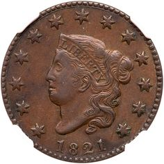 1821 N-2 R1 NGC graded AU53 Attractive medium brown and light chocolate. No spots or stains, only minor contact marks… / MAD on Collections - Browse and find over 10,000 categories of collectables from around the world - antiques, stamps, coins, memorabilia, art, bottles, jewellery, furniture, medals, toys and more at madoncollections.com. Free to view - Free to Register - Visit today. #Coins #US #LargeCents #MADonCollections #MADonC