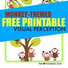 Monkey themed visual perception activity free printable worksheet