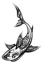 Vector Shark Polynesian Tattoo Isolated on White Background