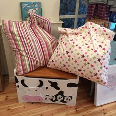 Locally hand crafted Toy Box £120 and locally hand crafted bean bags £45 washable covers