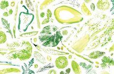たくさんの野菜でスタンプ! 葉野菜はあまりインクをつけすぎない方が葉っぱの繊維が綺麗に出ます。