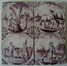 4 DUTCH DELFT TILES c.1800-1825 BIBLICAL / BIBLE SCENES