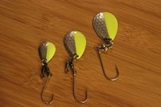 Cleardrift: Stinger Blades! Chartreuse/Silver (3 sizes available!) Selling them for $0.75 and you can find them on our site @ www.Cleardriftfishing.com