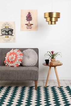 Brass Tiered Pendant Shade, Gamine Side Table from Urban Outfitters