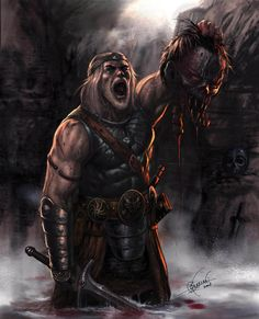 Beowulf is pictured here with Grendel's head as a token of his victory in the battle. This is a metaphor for Beowulf's objectification of women, as he views both Grendel, the monster, and women as conquests/objects. Valhalla Viking, Viking Warrior, Dark Fantasy Art, Fantasy Artwork, Hugin Munin Tattoo, Grendel's Mother, Wolf, Beowulf, Vegvisir