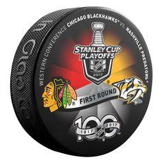 CHICAGO BLACKHAWKS NASHVILLE PREDATORS 2017 Playoffs NHL 100th DUELING LOGO PUCK #InGlasCo #ChicagoBlackhawks