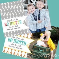 Modern Photo Christmas Card, Be Merry!