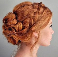 35 Braids Sure to Inspire Your Special-Occasion Styling 35 Braids Sure to Inspire Your Special-Occasion Styling,Braids 35 Braids to Stare at All Day - Hairstyling & Updos - Modern Salon Style Redhead Hairstyles, Braided Hairstyles, Braided Updo, Prom Hairstyles, Curly Bridesmaid Hairstyles, 1800s Hairstyles, Volume Hairstyles, Chignon Hairstyle, Korean Hairstyles