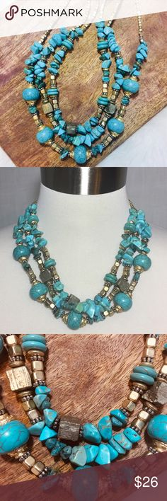 """NWOT CHICO'S Turquoise Multi Strand Gold Necklace NWOT CHICO'S Faux Turquoise Multi Strand Layered Gold Necklace  New without tags Faux turquoise and Goldtone 18"""" length, not including 5"""" extender Lobster clasp Chico's Jewelry Necklaces"""
