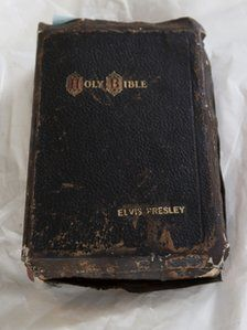 Elvis Presley's bible that sold for $90,000.  (...cr...don't know as this is that old but it sure looks used....I hope it was Elvis who used it.....I was just a teenager when Elvis became popular and I liked him....still do)