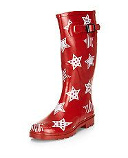 Teens Red Star Print Wellies  | New Look