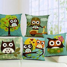 conjunto de cinco desenhos animados da coruja algodão / linho fronha decorativo – EUR € 63.63
