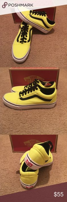 Vans Old Skool Britt Sneakers New in box. Neon Yellow /Black Vans Shoes Sneakers